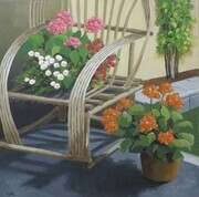 Geraniums and Chair